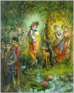 The Supreme Lord Krishna Playing His Fluite