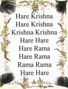 The Hare Krishna Mantra. Man means mind and tra to free