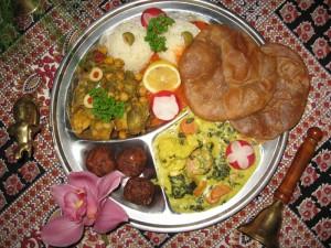 Krishna Prasadam. Vegetarian Food offered to Krishna