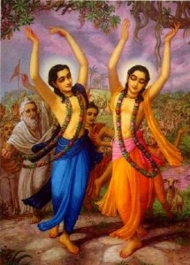 Lord Nityananda (left) and Lord Caitanya Mahaprabhu