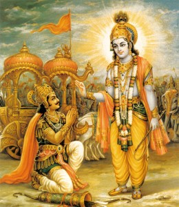 Lord Krishna is speaking the Bhagavad Gita to His disciple Arjuna