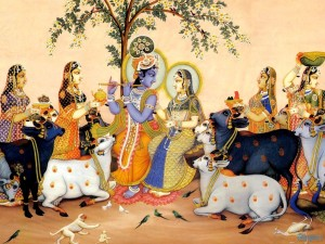 The Gopis love to hear Krishna's flute and serve Him with all their love