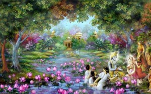 Goloka-Vrindavana, the spiritual abode of Lord Krishna.